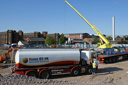 Crown Oil UK tanker on construction site
