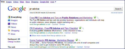 Positions 1 and 2 in Google for PR Advice