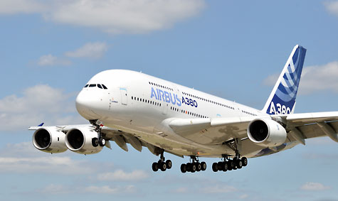 Airbus A380 coming into land.